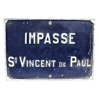 Vintage Paris St. Vincent De Paul Sign
