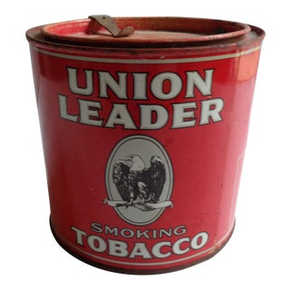 Antique Union Leader Smoking Tobacco Large Tin With Tax Stamp