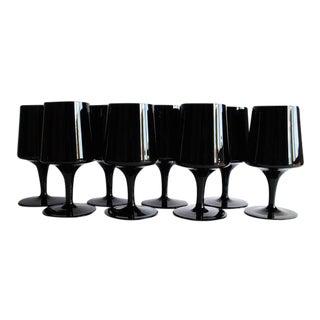 Mid-Century Black Glasses, Set of 8