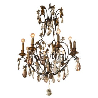 Jansen Wrought Iron Crystal Chandelier