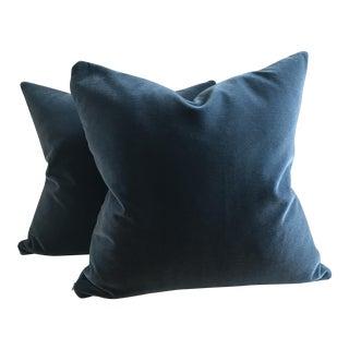 Hague Blue Mohair Velvet Pillows - a Pair