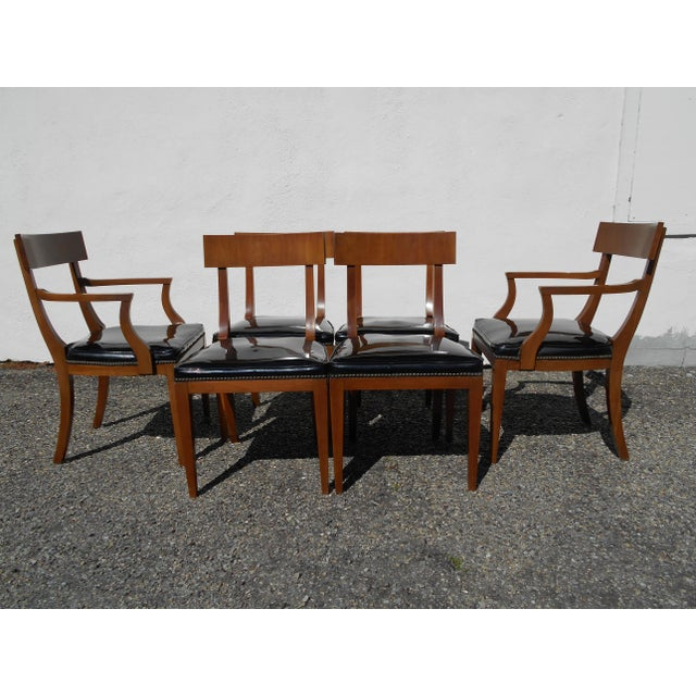 Mid-Century Patent Leather Dining Chairs - Set of 6 - Image 3 of 11