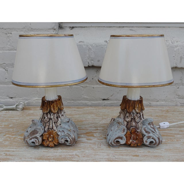 Image of Pair of Petite Italian Paintd Lamps w/ Custom Parchment Shades
