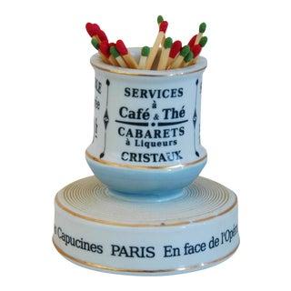 Parisian Cafe Bar French Porcelain Match Striker & Holder