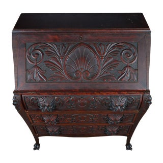 R. J. Horner C.1890's Carved Mahogany Drop Desk