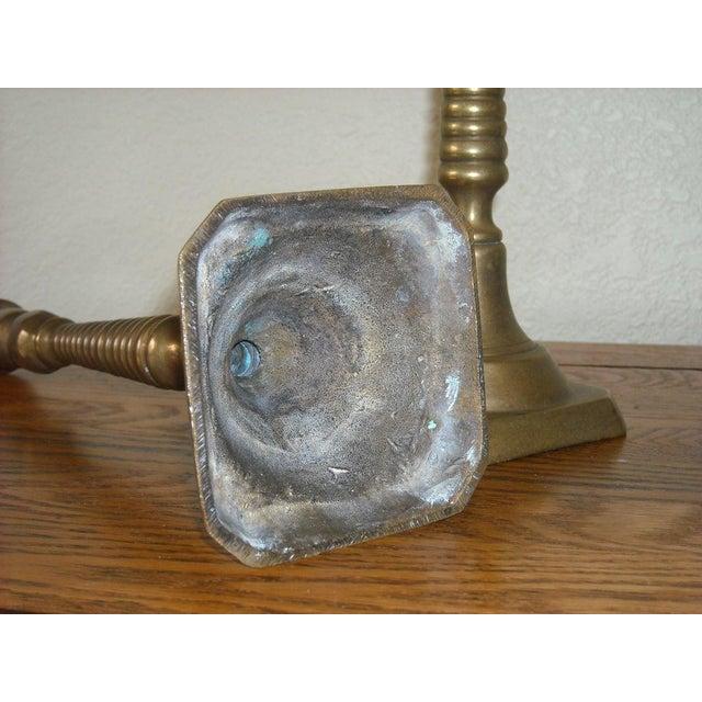 Image of Victorian Antique Brass Candlesticks - A Pair