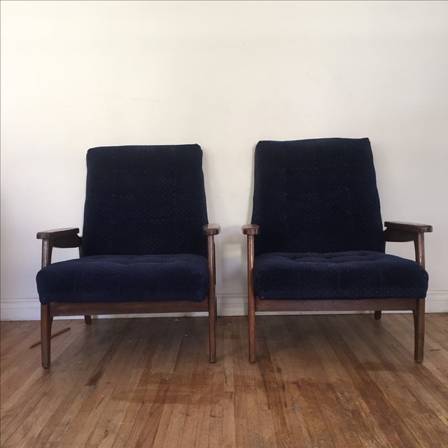 Vintage Navy Blue Tufted Lounge Chairs - A Pair - Image 5 of 6