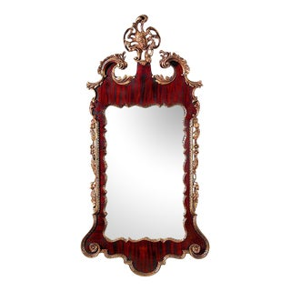 Carved Mahogany & Giltwood Chippendale-Style Mirror