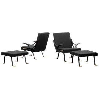 Pair of Digamma Arm Chairs with ottomans/ Edition Gavina 1957