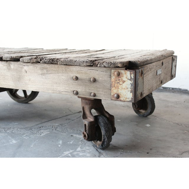 Antique Industrial Railroad Cart Coffee Table