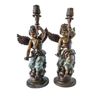 Antique Bronze Candle Holders Cherub Putti Candle Sticks - a Pair