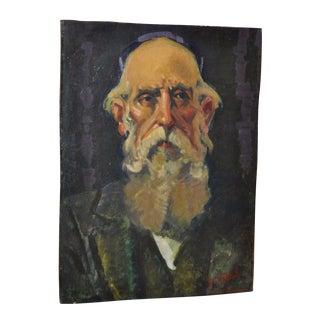 Mid Century Modern Judaica Oil Portrait c.1950s