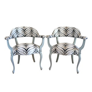 Vintage Art Deco Style Arm Chairs - Pair