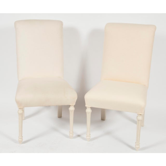 Monochrome Armless French-Style Chairs- A Pair - Image 2 of 4