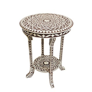 Bone Inlay Round Side Table, Brown