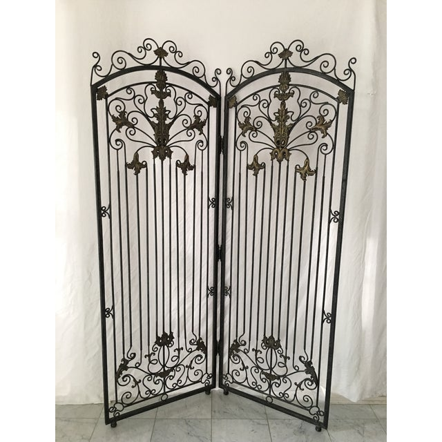 Ornate Heavy Iron Folding Screen - Image 6 of 7