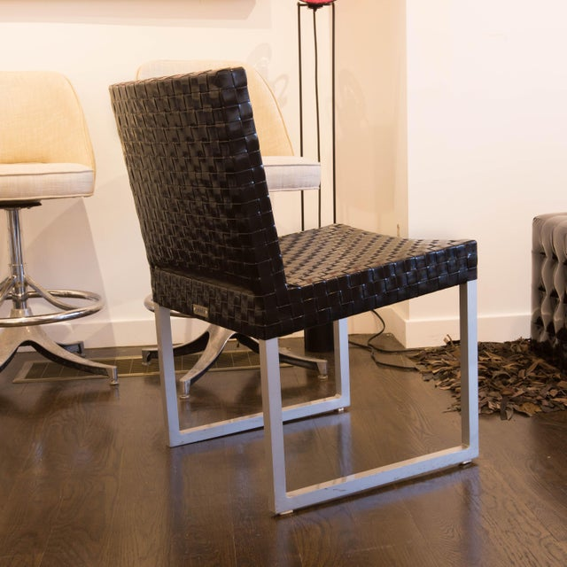 Black Patent Leather Woven Side Chairs - Set of 4 - Image 2 of 5