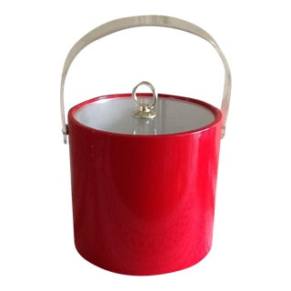 Vintage Red Vinyl & Lucite Ice Bucket