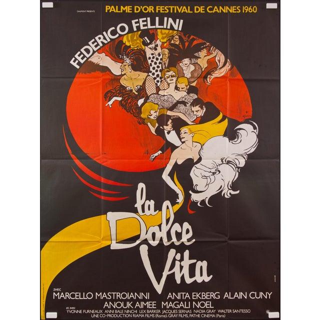 "Vintage French ""La Dolce Vita"" Federico Fellini Film Poster - Image 2 of 2"
