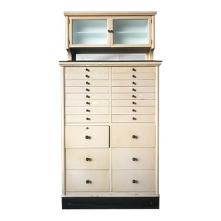 Antique 22 Drawer Mirrored Dental Medical Cabinet w/ Onyx Top