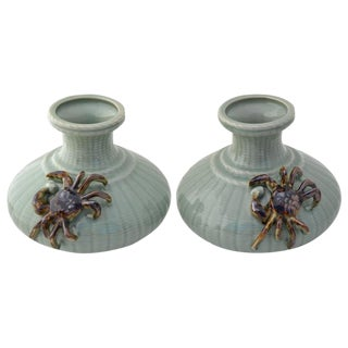 Chinese Celadon Crab Vases - A Pair