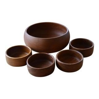 Danish Modern Teak Salad Bowl Set - 5 Pieces