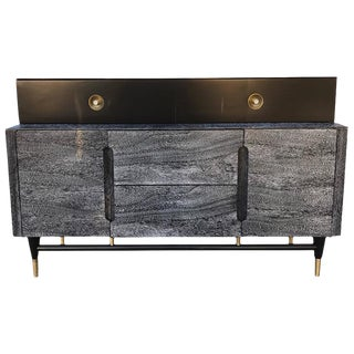 Mid-Century Black And Cerused Walnut 1960s Cabinet