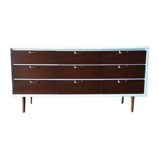 Mid-Century Refinished & Lacquered Walnut White Dresser