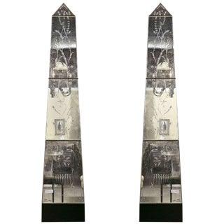 Vintage Venetian Mirrored Pilasters - A Pair
