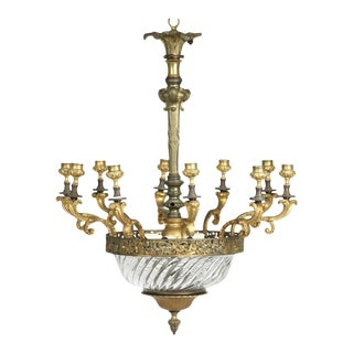 Louis XV Gilt Bronze & Domed Glass Chandelier