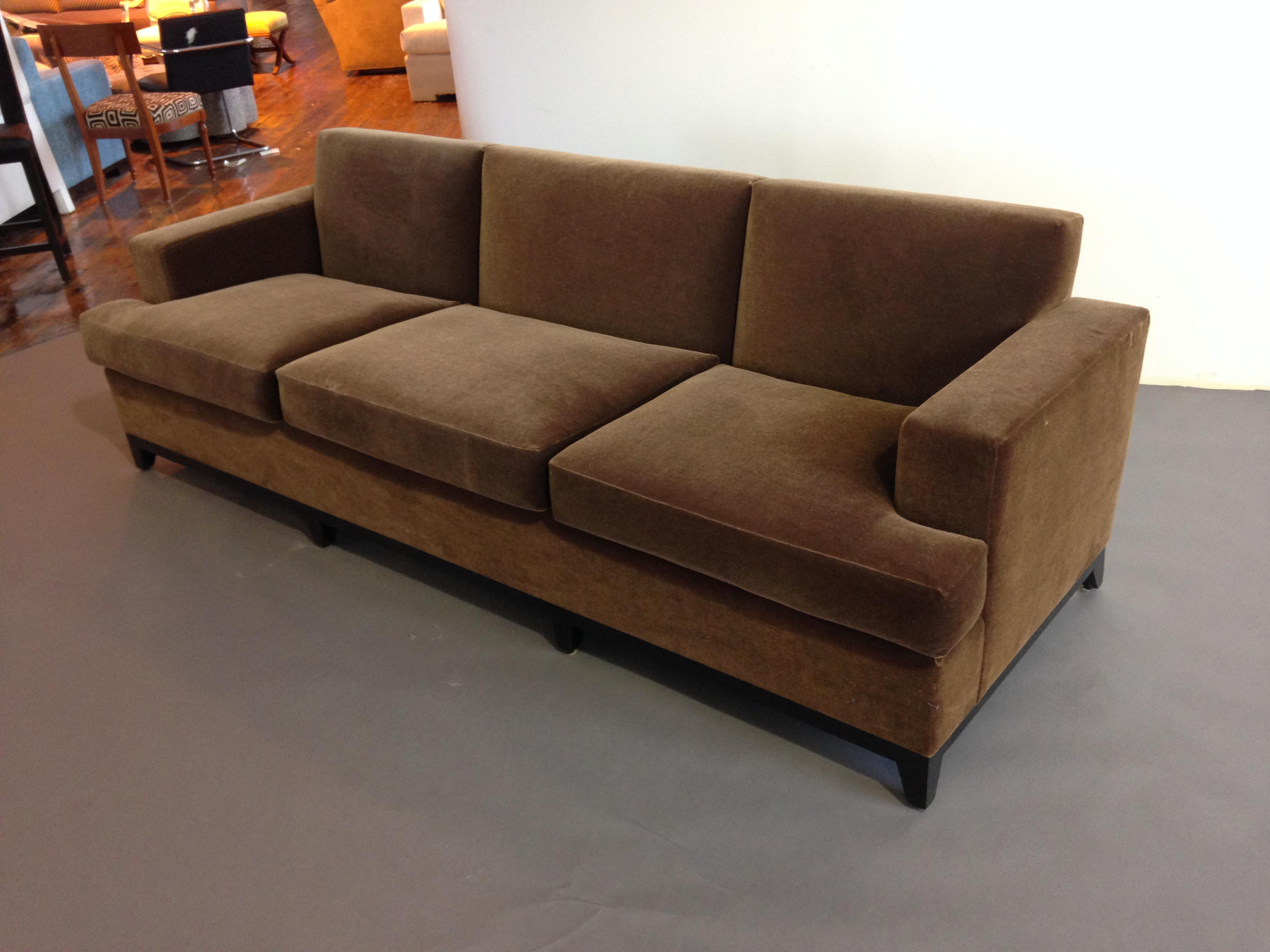 Brown Mohair 3 Seater Sofa   Image 2 Of 3