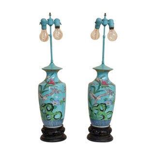 Robin's Egg Blue Porcelain Ginger Jar Lamps