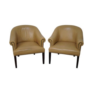 Barrel Back Leather Club Chairs - A Pair