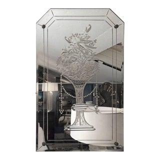 Vintage Floral Etched Mirror