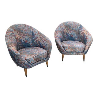 Federico Munari chairs. Mid-Century Italian Curved Lounge Chairs, 1958