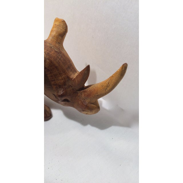 Image of Hand-Carved African Rhino Figurine