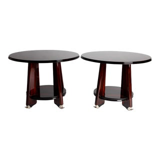 Art Deco Style Two-Tier Side Table with Chrome Feet