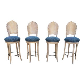 Vintage Shell Carved Bar Stools - Set of 4