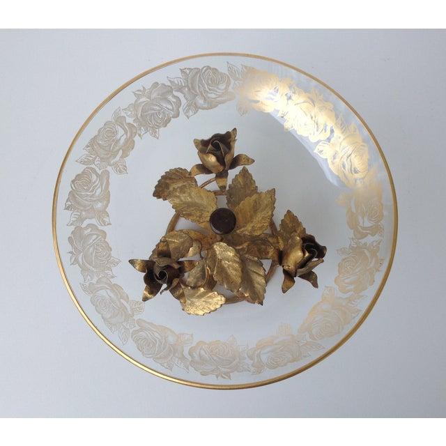 Gilt Italian Tole & 22k Gold Glass Center Bowl II - Image 7 of 8