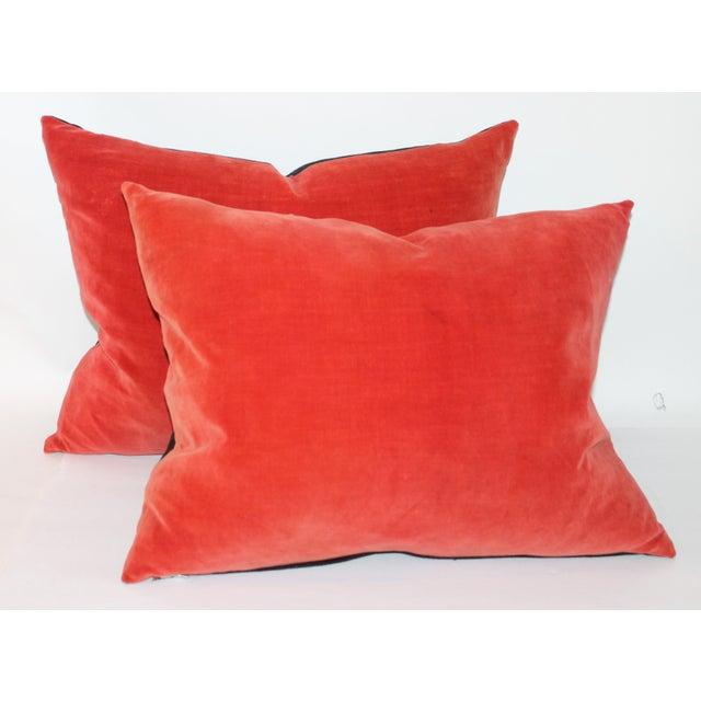 Orange Velvet Throw Pillows : Orange Velvet Pillows- A Pair Chairish