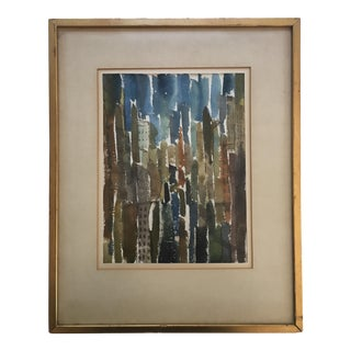 Vintage Original Abstract Urban Landscape Painting