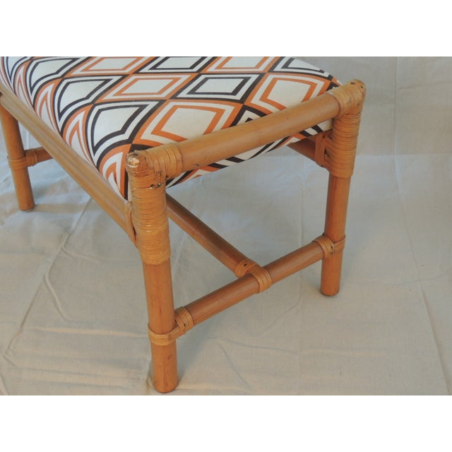 Vintage Bamboo Bench With Mod Upholstery Fabric - Image 3 of 4