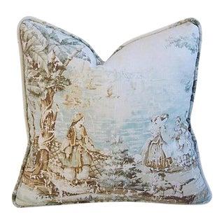 Custom Covington Bosporus Flax Toile Pillow
