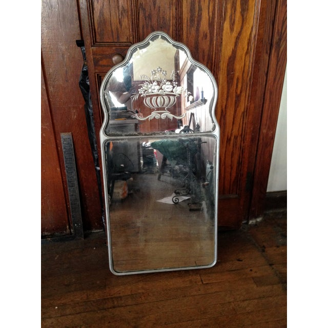 Large Vintage Etched Wall Mirror - Image 10 of 11