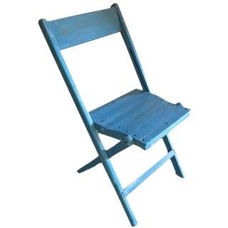 Blue Wooden Folding Chair
