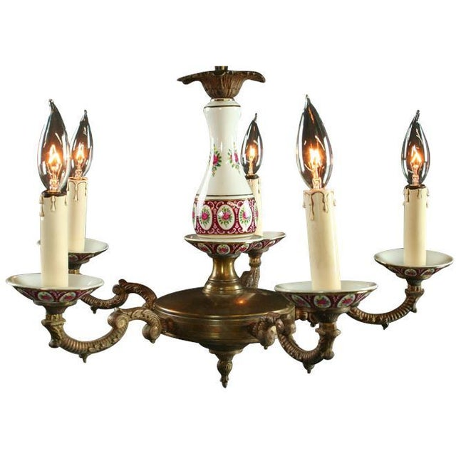 Vintage French Country Ceramic Chandelier - Image 2 of 3