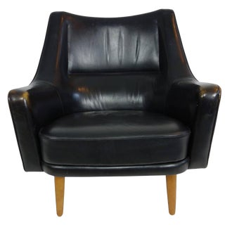 Ib Kofod-Larsen Black Leather Lounge Chair