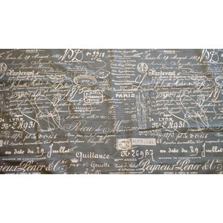 Indigo Blue & Gray Document Linen Fabric