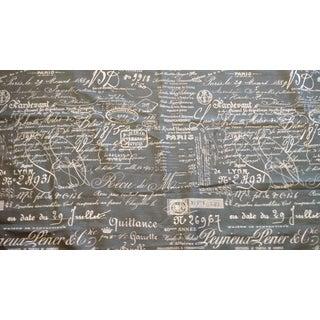 Indigo Blue & Gray Document Linen Fabric