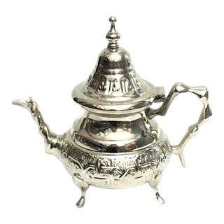 Moroccan Handmade Silver Engraved Teapot